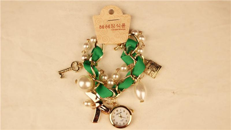 Weave Bracelet Women Fashion Leather Quartz Watch Key Lock Pedants Lady Wrist Watch Round Dial Mix Colors 10pcs Free Shipping