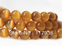 Wholesale Min Order Pcs - Wholesale 8mm 48 pcs lotbeautiful amber Mexican Opal Cat eye Hot sell Loose Beads for jewelry making Min order 12USD