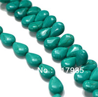 """Wholesale Turquoise Oval Beads - Free shipping! Natural 10*13mm 2 typs 15"""" natural turquoise oval water drop Loose Beads jewelry making"""