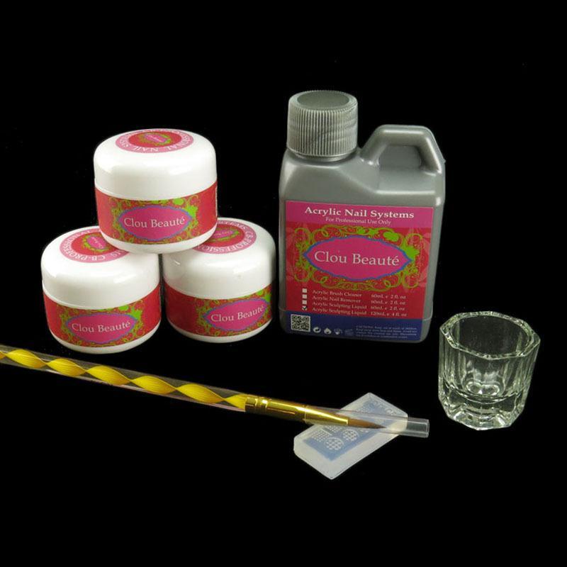 Pro Acrylic Powder Liquid 3D Mold Brush Pen Nail Art DIY Decoration ...