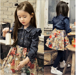 Wholesale Knee Skirt Denim Blue - Wholesale -Children clothes Autumn winter spring girl long sleeve dress Denim dress Floral skirt 5p l