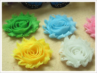 Wholesale Shabby Chic Flowers For Babies - 24pcs 2.5inch baby shabby chic flowers hair flower hair accessories chiffion lace flower for hair headband