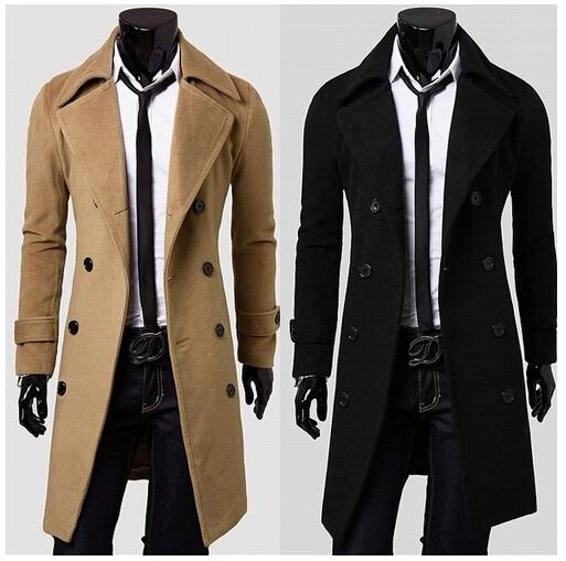 top popular 2014 New Autumn Winter Men's Clothing Outerwear Turn down Collar Slim Men Double Breasted Wool Long Coat Overcoat in Stock XXXL 2021