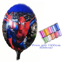 spiderman bubbles - 9 off Fashion Free gift cm Ribbon cm Spiderman aluminum balloons cartoon Classic toys drop shipping hot sale GX