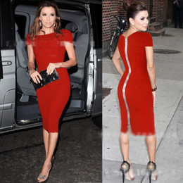 Wholesale Black Cocktail Dress Europe - New Europe Fashion Women's Celebrity Street Style Dresses Zip Back Sexy Bodycon Cocktail Party Slim Pencil Dress C1091