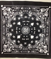 Wholesale Beachwear Boy - Free Shipping 2014 New 55CM*55CM 100% Cotton Black and White Skull And Paisley Bandana For Mens Boys Womens Girls