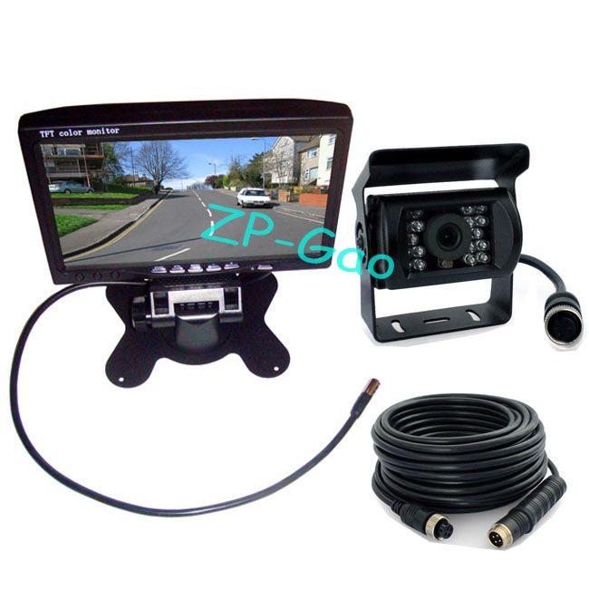 "7"" LCD 4 pin Monitor Car Rear view Kit + 18 LED IR CCD Reversing Camera Backup System Waterproof"