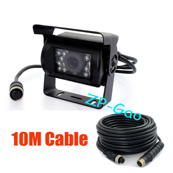 best selling 4 Pin 12V-24V 18 IR CCD Color Car Reverse Reversing Backup Camera Wide View Night Vision Waterproof + 10m 4 Pin cable Free Shipping