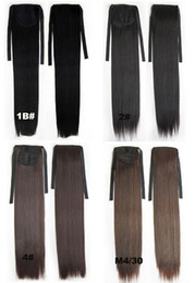 """Wholesale Hairpiece Wholesale - synthetic Ribbon ponytail hair extensions Long Straight Steel come HairPiece 28 kinds of color available 22"""",80g,10pcs lot"""