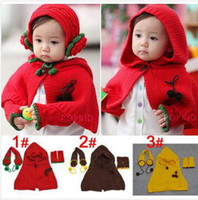 Wholesale Fashion Child s Hooded cloak Set Girls Hooded Cloak knitting headphones open toed gloves Winter Children Accessories