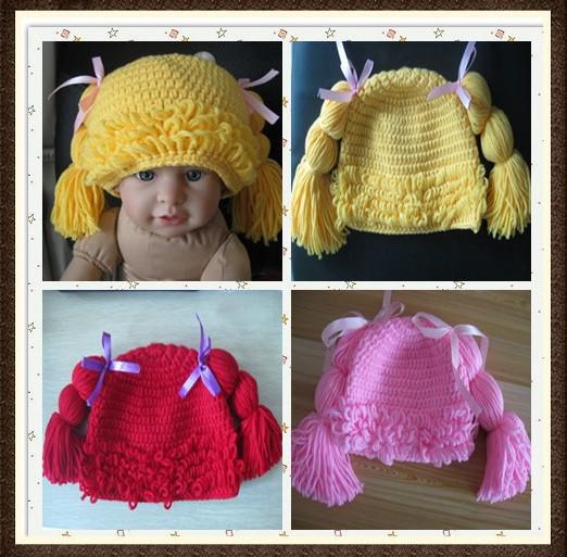 Crochet Cabbage Patch Wig Hair Hat Newborn Infant Toddler Cap Baby