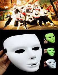 Wholesale Volto Masks Dance - Hot sell Popular Shuffle Dance Hip hop Mask JabbaWockeeZ Blank men women Face Mask Halloween Party Mask luminous and white