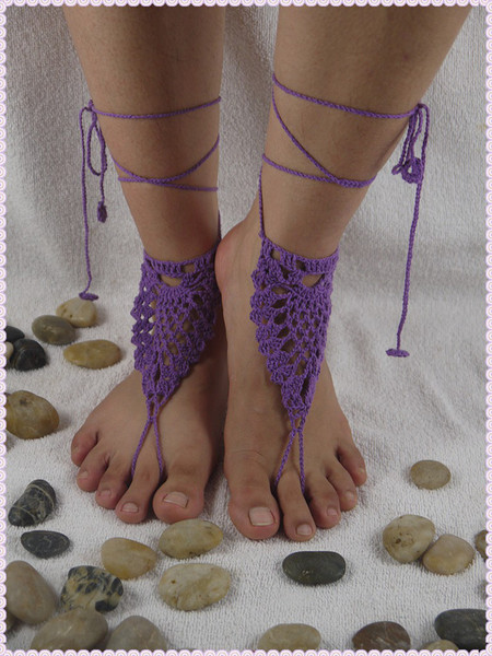 Crochet Barefoot Sandals black Nude shoes Foot Jewelry Beach