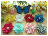 Wholesale Solid Satin Headband - 30pcs Lotus flower for little girls headwear accessories rhinestone centered flower for headband and kids' clothing decoration Satin flower