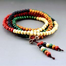 Wholesale Rosary Beads Buddhist - CB001 multicolor 8mm 108 sandalwood beads japa rosary prayer mala bracelet Tibetan Buddhist meditation with bag as free gift