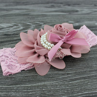 Wholesale Pink Chiffon Hair Bow - MOQ 1pcs Baby girls chiffon rose flowers with pearl kids lace wide hairband children hair bows Hair Accessories
