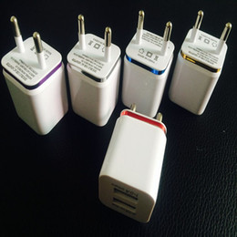 Wholesale Galaxy Note Charging Port - Metal Dual USB wall Charging Charger US EU Plug 2.1A AC Power Adapter Wall Charger Plug 2 port for Iphone Samsung Galaxy Note LG Tablet Ipad