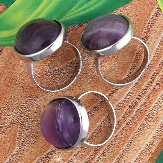 Wholesale - Charm Natural Silver Plated Amethyst Crystal Powder Opal Gaventurine Denier Form Adjustable Jewelry Rings.