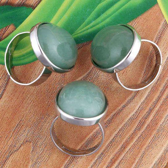Großhandel - Charm Natural versilbert Amethyst Crystal Powder Opal Gaventurin Denier Form verstellbare Schmuck Ringe.