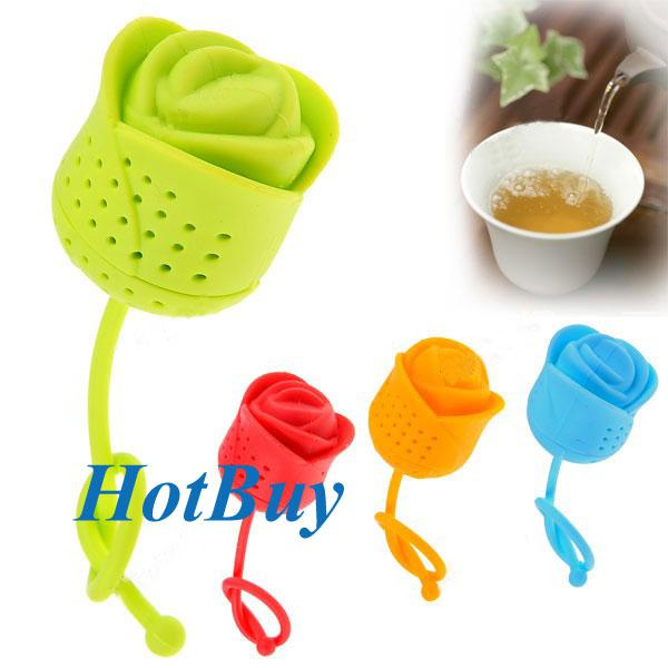 Cute Creative Rose Shape Colander Silicone Tea Infuser Strainer Filter - Color Assorted #3226