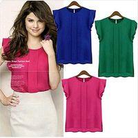 Wholesale Womens Sleeveless Blouse Size M - 1PC New Fashion Plus Size Womens Chiffon Flouncing Short Sleeve Shirt Blouse Tops 4 Colors[CW14001*1]
