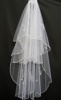 Wholesale Elbow Length Crystal Edged Veil - Cheap 2014 Real Picture White Ivory USA Soft Tulle Wedding Veils Free Comb Sequined Beaded Crystal In Stock