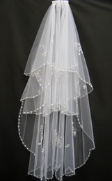 Wholesale Crystal Wedding Veils Cheap - Cheap 2014 Real Picture White Ivory USA Soft Tulle Wedding Veils Free Comb Sequined Beaded Crystal In Stock