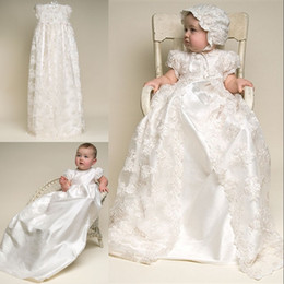 Wholesale Lace Christening Gown For Boys - Custom Made Lovely High Quality Ivory and White Taffeta Baptism Gown Lace Jacket Christening Dresses with Bonnet for Baby Girls and Boys