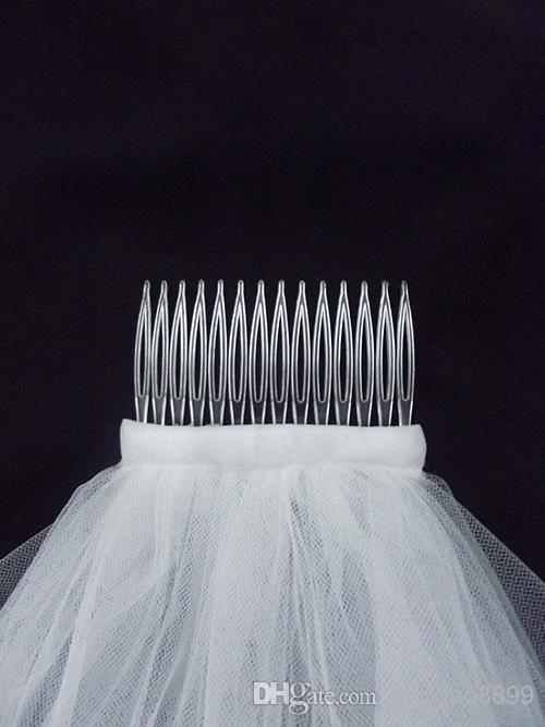 Stokta 2019 Yeni 2 Katmanlar Beyaz Fildişi Dantel Tül Kısa Düğün Veils Boncuk Sequins Kenar Veils Birdal Elbiseler Için Gelin Aksesuarları V1