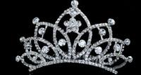 rosa roja de la perla de la vendimia al por mayor-Envío gratis 2019 nuevo brillo joyas cristales tiaras nupciales con peine boda Pageant corona nupcial accesorios