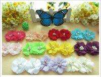 Wholesale Chiffon Flower Heads For Headbands - 100pcs chiffon pearl head flower for elastic headband newborn baby hair accessories kids headwear
