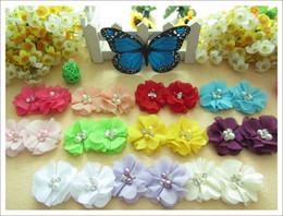 Wholesale Hair Bows Pearls - 100pcs chiffon pearl head flower for elastic headband newborn baby hair accessories kids headwear