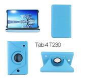tab4 cover großhandel-360 Grad drehender magnetischer PU-lederner Abdeckungs-schützender Fall für Samsungs-GALAXY-Vorsprung 4 Tab4 7.0 T230 T231 11 Farben DHL-freies Verschiffen