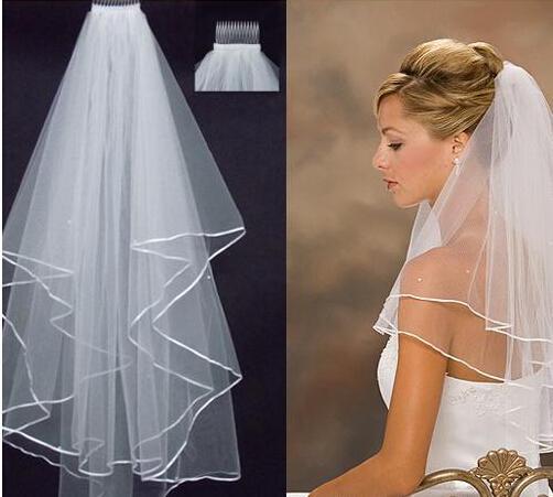 2019 Mode coude longueur Tulle princesse voiles de mariée blanche Ivoire 2 couches ruban Edge Perles Nidies pour accessoires de mariage
