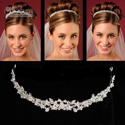 جديد وصول الأزياء كريستال رائع لامعة الزفاف تياراس الشعر الزفاف اكسسوارات شحن مجاني جودة عالية رخيصة