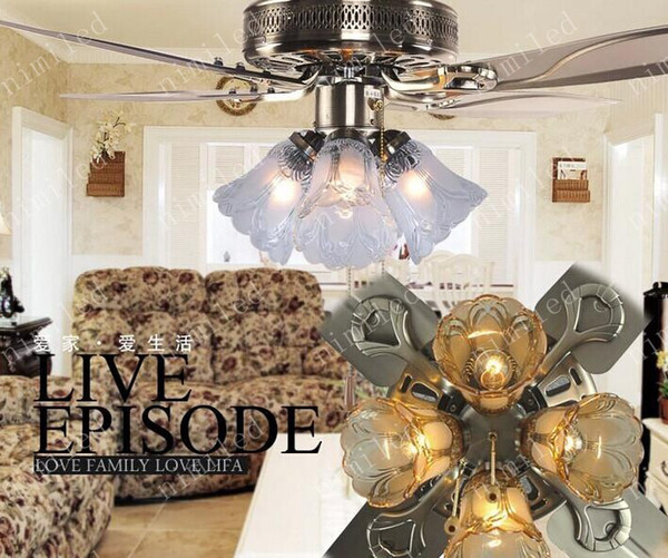 top popular Led ceiling fan crystal chandelier bronze iron fan lights 48 inches 4 leaf 4 lights Mute adornment ceiling lamp LYY669 2021
