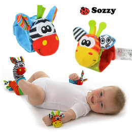 Wholesale Branded Soft Toys - Wholesale-2Pcs Set New Brand Sozzy Baby Wrist Rattle Infant Foot Socks Rattles Soft Cotton Plush Dolls Kids Comfortable Toys