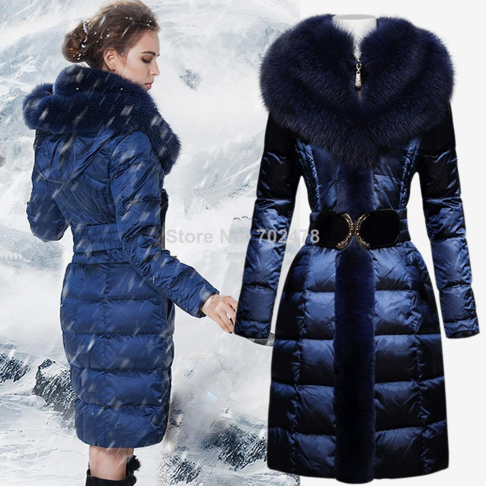 2017 2014 New Ladies Blue Fox Fur Down Coat Medium Long Large Fur ...