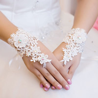 Wholesale Cheapest Beads Free Shipping - Cheapest Free Shipping 2014 New Style Rhinestone Lace Short Bride Gloves Wedding Gloves Fingerless White Ivory In Stock
