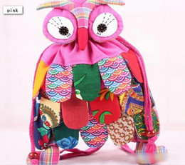Wholesale Children Bag China - 25*30 China Style 11 Colors Kids Owl Backpacks New 2014 Children Boys Girls Vintage Beam Mouth Bags Night Owl Childs School Bags H1148