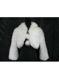 Wholesale Faux Fur Cheap - New Cheap Free Shipping One Size US8 Long Sleeve White Faux Fur Wrap With Shawl Wedding Bridal for Winter 2014