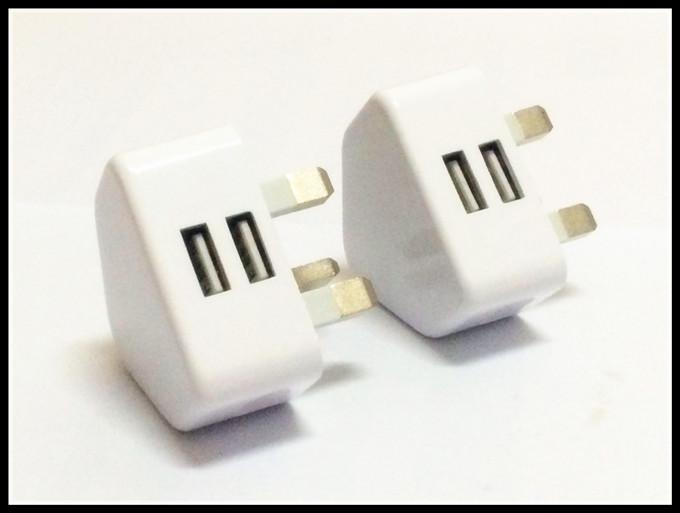 White Color 3pin UK GB Dual usb ports 2A Fast charging wall charger power adapter for samsung s3 s4 s6 s7 for android phone gps mp3