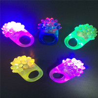 Wholesale LED Bright Finger Light Led Ring Lights Rave Party Light Strawberry LED Ring Light Ring Torch Led Ring Flashlight Halloween Party Christmas