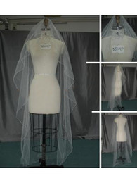 Wholesale Soft White Wedding Veils - 2014 New Style Cheapest Free Shipping White Ivory Long Wedding Veils USA Soft Tulle Free Comb One Layer