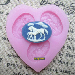 Wholesale Soap Molds Heart Shape - Heart Shape Horse Silicone Fondant Cake Molds Soap Chocolate Mould For Baby Shower and Birthday Party