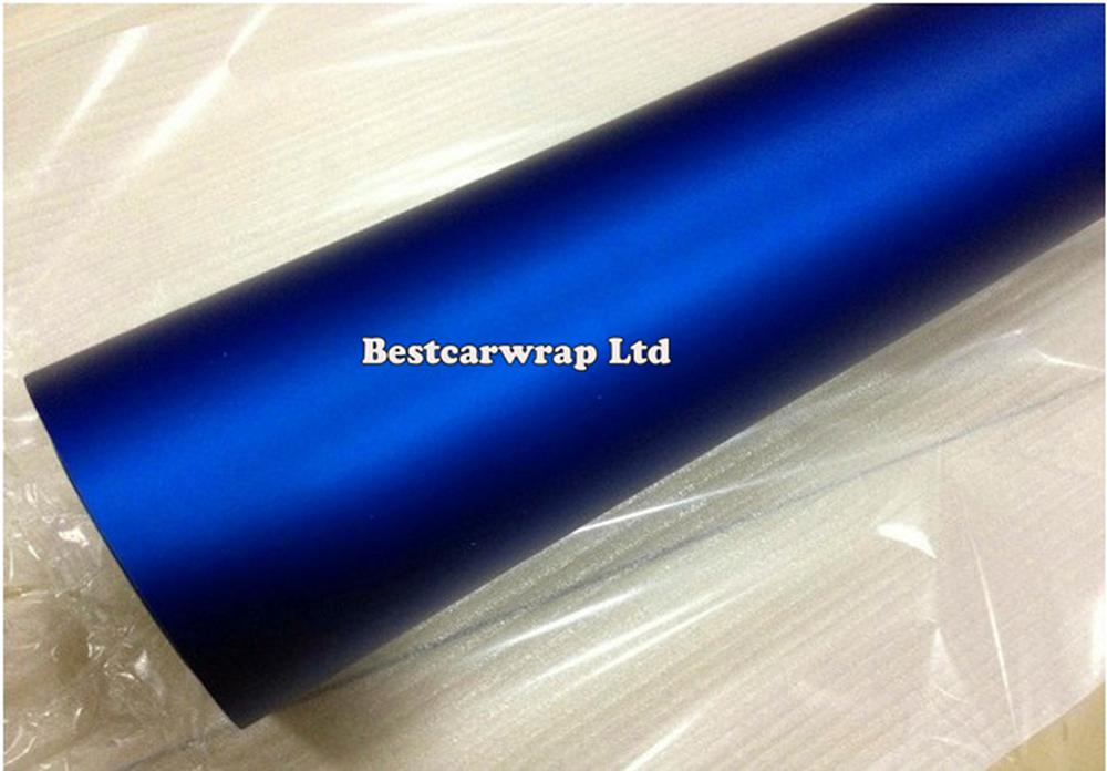 Matt Chrome Blue Vinyl Wrap med luftbubbla Gratis Satin Chrome Blue Film Car Stickers 1.52x20m / Roll Fri frakt
