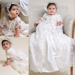 Wholesale Lace Christening Gown For Boys - 2015 Lovely Hot Sale Cheap Satin and Lace Short Sleeve Infant Baptism Gown Cute Christening Dresses for Baby Girls and Boys