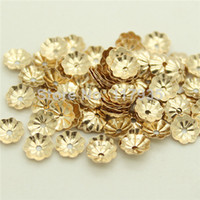 Wholesale 5mm Spacer Beads - Wholesale 20beads lot quality no fading rolled 14k gold filled 4 5mm flower torus hat cap spacer Loose beads jewelry making