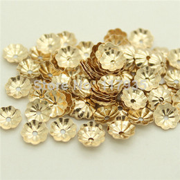 Wholesale 20beads lot quality no fading rolled 14k gold filled 4 5mm flower torus hat cap spacer Loose beads jewelry making Coupons