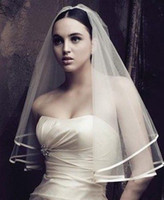 Wholesale Lace Cathedral Veil Blusher - 2015 high quality new style velo de novia lace applique cathedral Wedding Veils 2015 lace Ivory White Tulle Bridal Veils Purfle
